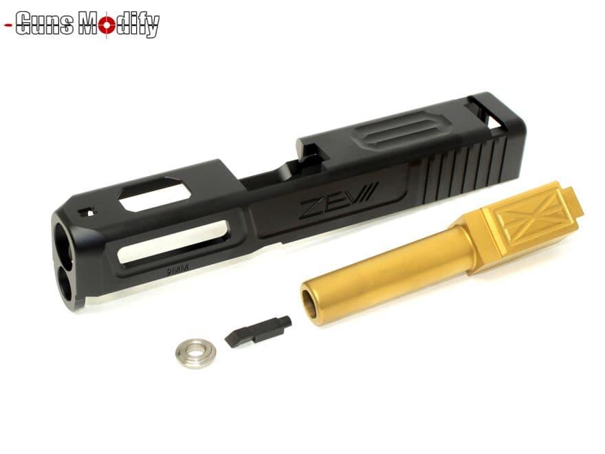 Guns Modify G26 CNC ZEV アルミスライド&ステンレス(TiN)アウターバレル◆東京マルイG26 ZEV TECH 窒化チタンゴールドコート タクティカル系 リアル 軽量メタル