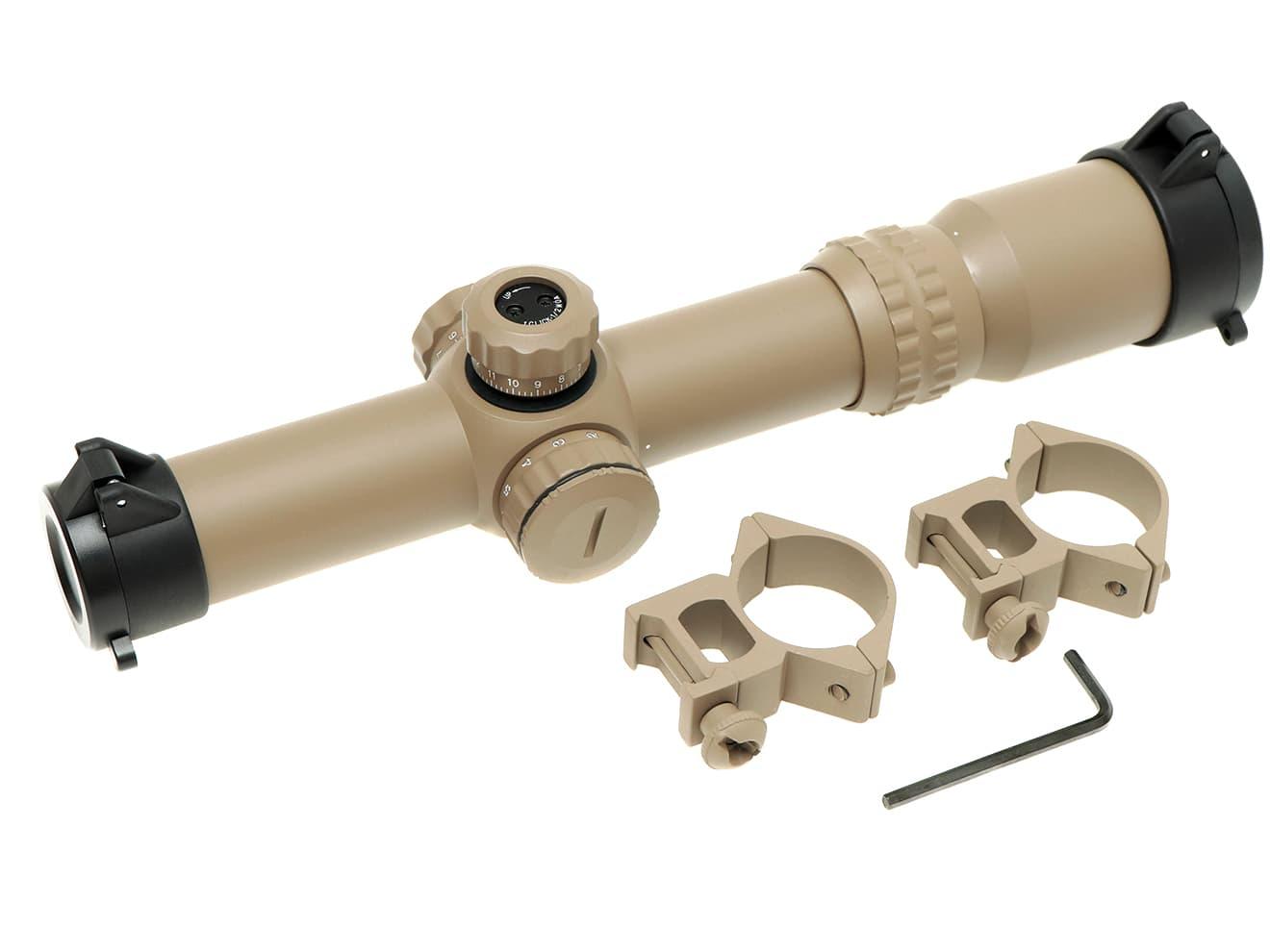 1-4×24 CQBショートズームスコープ イルミネーション◆TAN 4倍 マウントリング付 24mm対物レンズ 20mmレール用 視度調整ダイヤル付 近接戦闘 ライフルスコープ