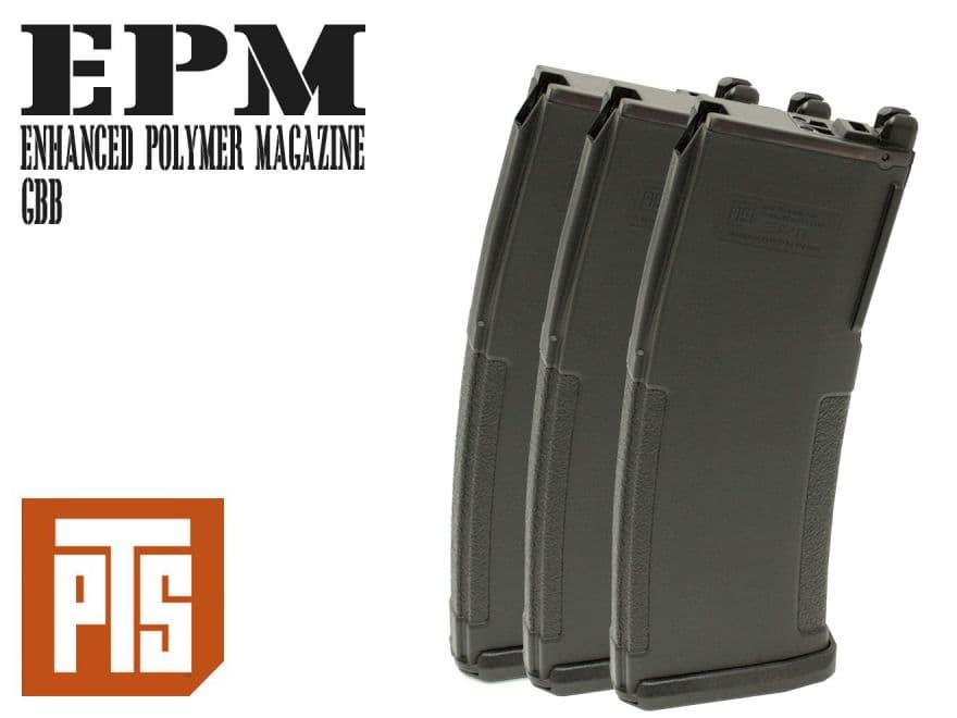 PTS Enhanced ポリマー マガジン M4 GBB BK 3個パック◆エンハンスド ガスブロ ガスブローバック EPM スペアマガジン ガスガン エアソフト KSC KWA PTS正規品