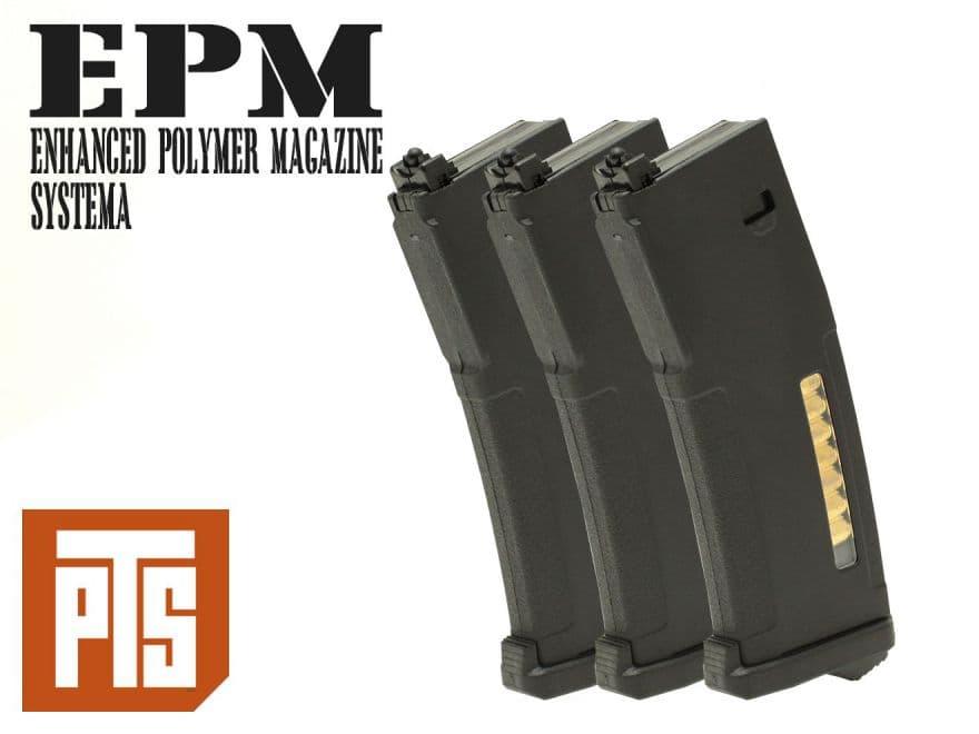 PTS EPM Enhanced ポリマーマガジン 120連 SYSTEMA PTW BK 3本セット◆システマ トレポン スペアマガジン 予備 スプリングマガジン エンハンスド M4 電動ガン