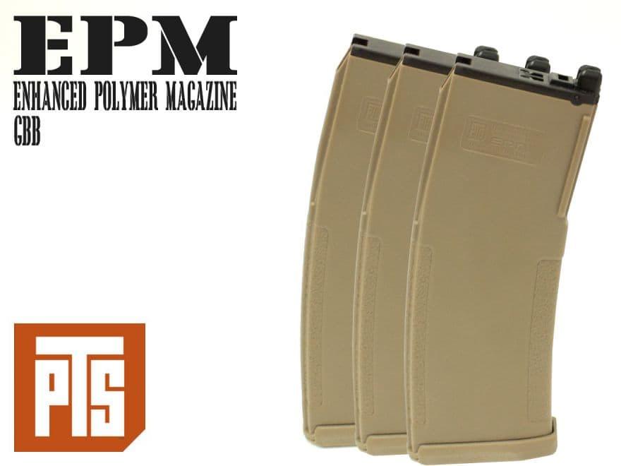 PTS Enhanced ポリマー マガジン M4 GBB DE 3個パック◆ガスブロ ガスガン マグ エンハンスド EPM AIRSOFT スペアマガジン KSC KWA LM4 PTS正規品 ポリマー製