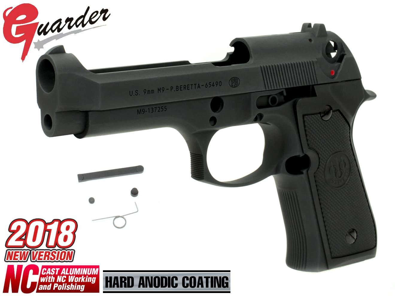 M92F-05(C)BK■GUARDER M9(PB) アルミスライド&フレーム◆2018 ver メタルフレーム 米軍仕様 ベレッタ BERETTA刻印 U.S.9mm M9 リアル刻印 東京マルイ M92F対応