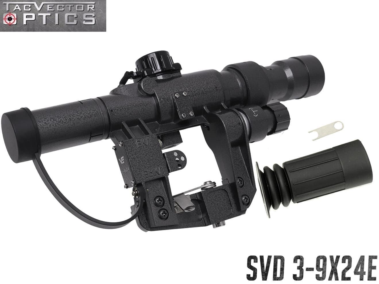 VECTOR OPTICS SVDスタイル 3-9x24E ライフルスコープ◆ SVDスタイルスコープ フルマルチコートレンズ採用 実銃対応 各社AKシリーズ対応 SVD ドラグノフ