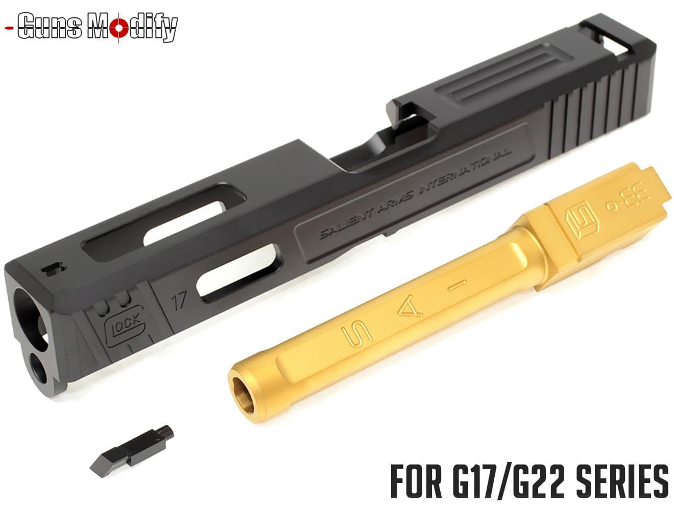 Guns Modify G17 SA CNC Tier 1 アルミスライド&ステンレス ボックスフルート アウターバレルセット◆マルイ GLOCK G17/G22対応 SAI風