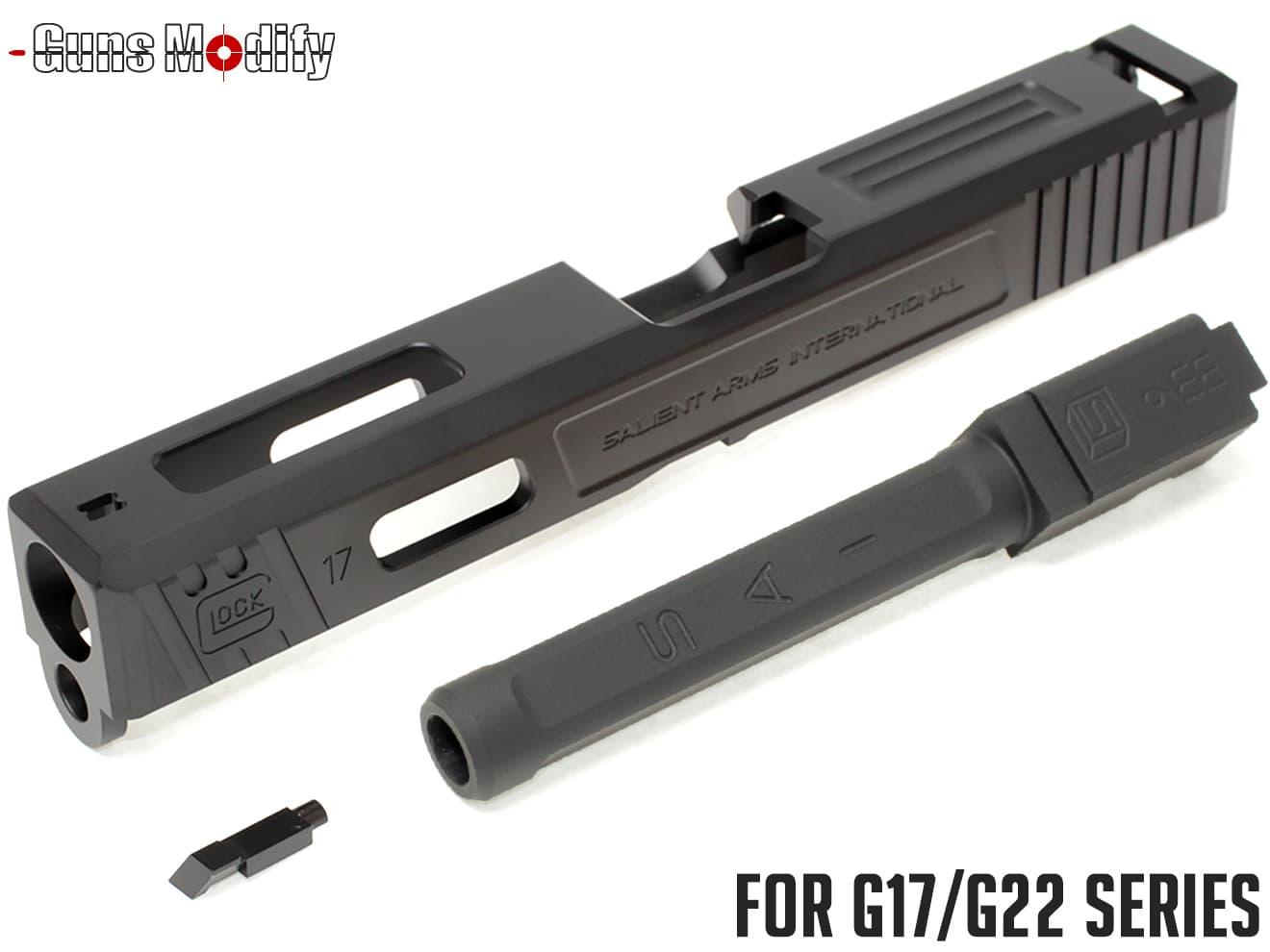 Guns Modify G17 SA CNC Tier 1 アルミスライド&ステンレス ボックスフルート アウターバレルセット◆G17 G22対応 TiCNコート済 SAIタイプ