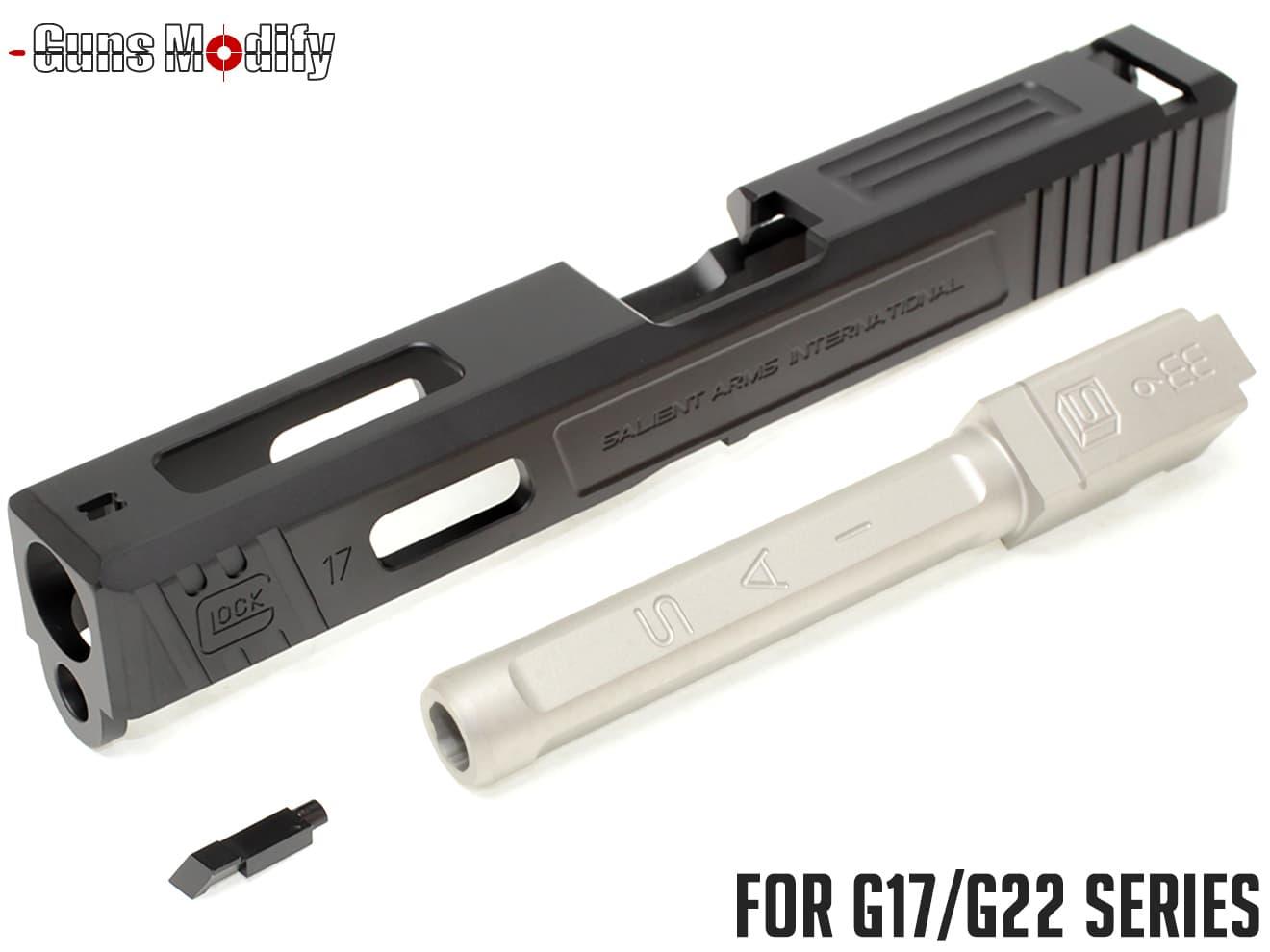 Guns Modify G17 SA CNC Tier 1 アルミスライド&ステンレス ボックスフルート アウターバレルセット◆GLOCK G17/G22対応 SAIタイプ メタル