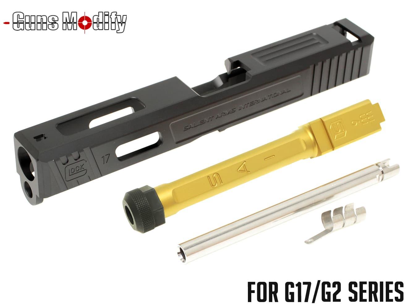 Guns Modify G17 SA CNC Tier 1 アルミスライド&ステンレス ボックスフルート スレッドアウターバレルセット◆G17G22対応 SAI風 TiNコート