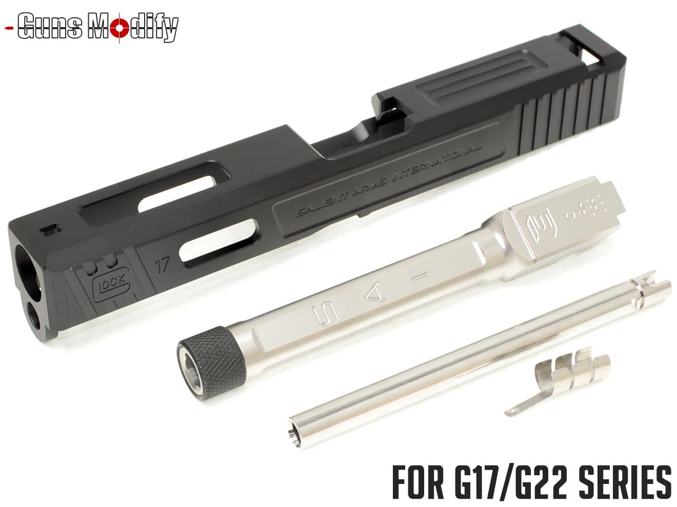 Guns Modify G17 SA CNC Tier 1 アルミスライド&ステンレス ボックスフルート スレッドアウターバレルセット◆14mm正ネジ メタルスライド