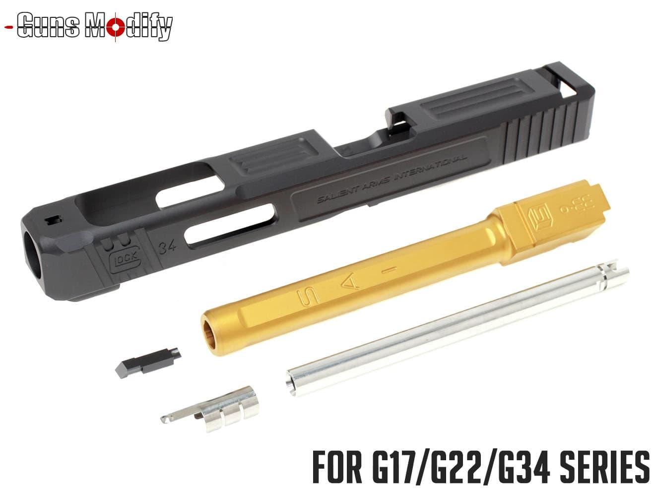 Guns Modify G34 SA CNC Tier 1 アルミスライド&ステンレス ボックスフルート アウターバレルセット◆マルイ G17/G22/G34対応 SAIタイプ