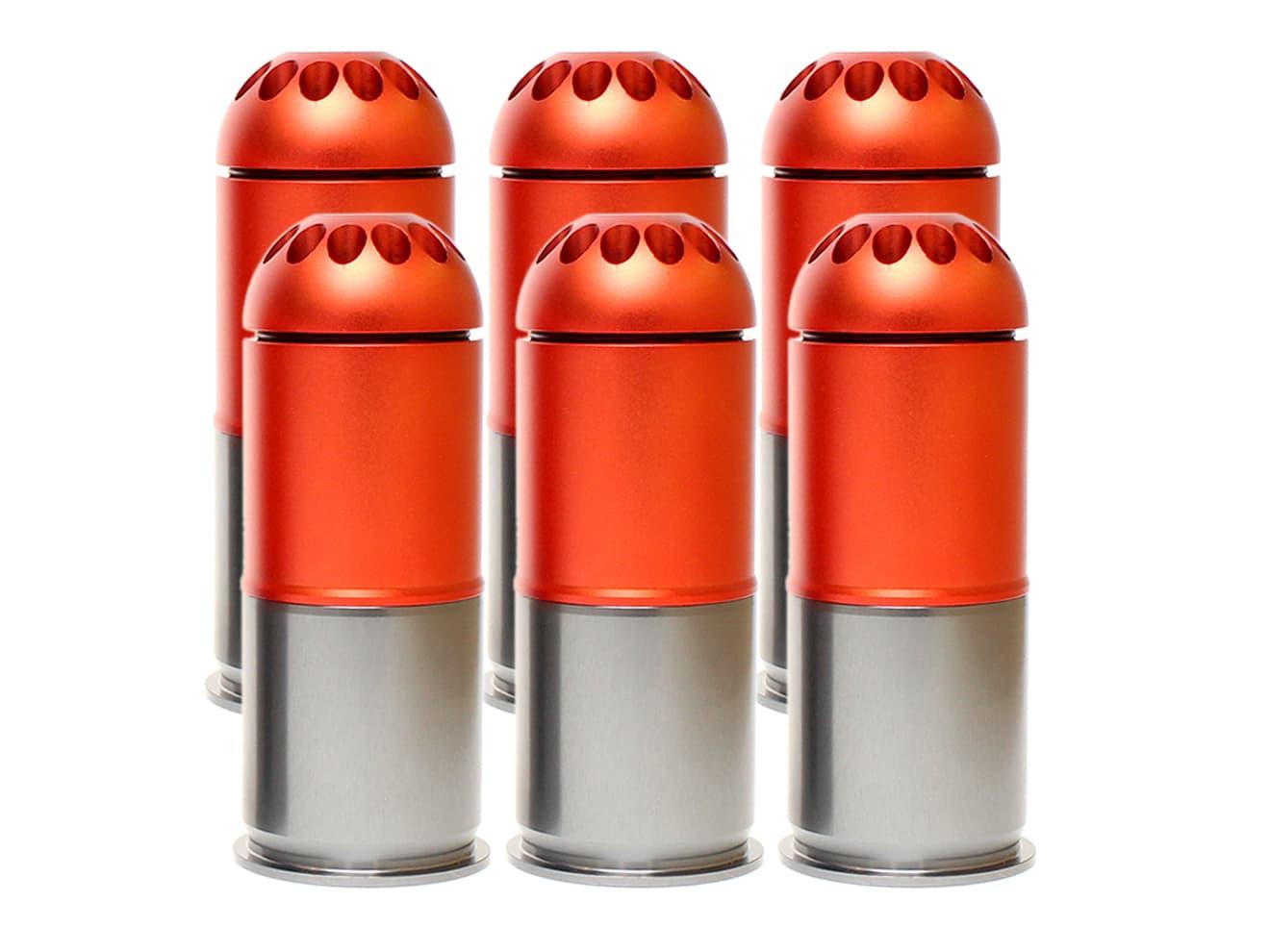 MILITARY-BASE(ミリタリーベース)フルメタル 40mmモスカート 120Rds 6個セット◆各社グレネードに対応 G&P/CAWなど 120発装弾 M203等に