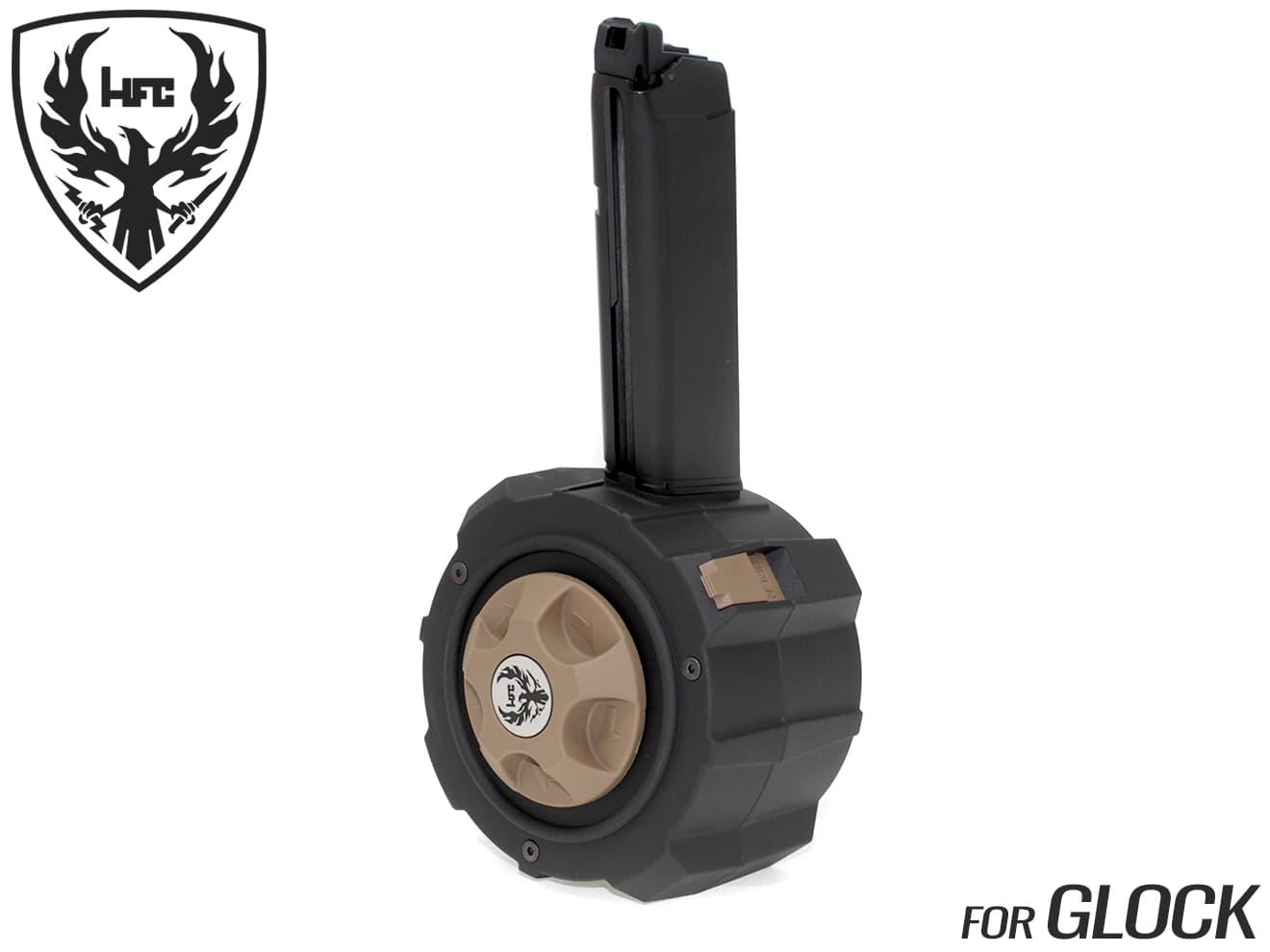 HFC ガスドラムマガジン 145Rds GLOCK用◆BK/DE マルイ ガスブロ グロックシリーズ対応 ゼンマイ式 145発装填 ガス容量超増大 BB弾付属