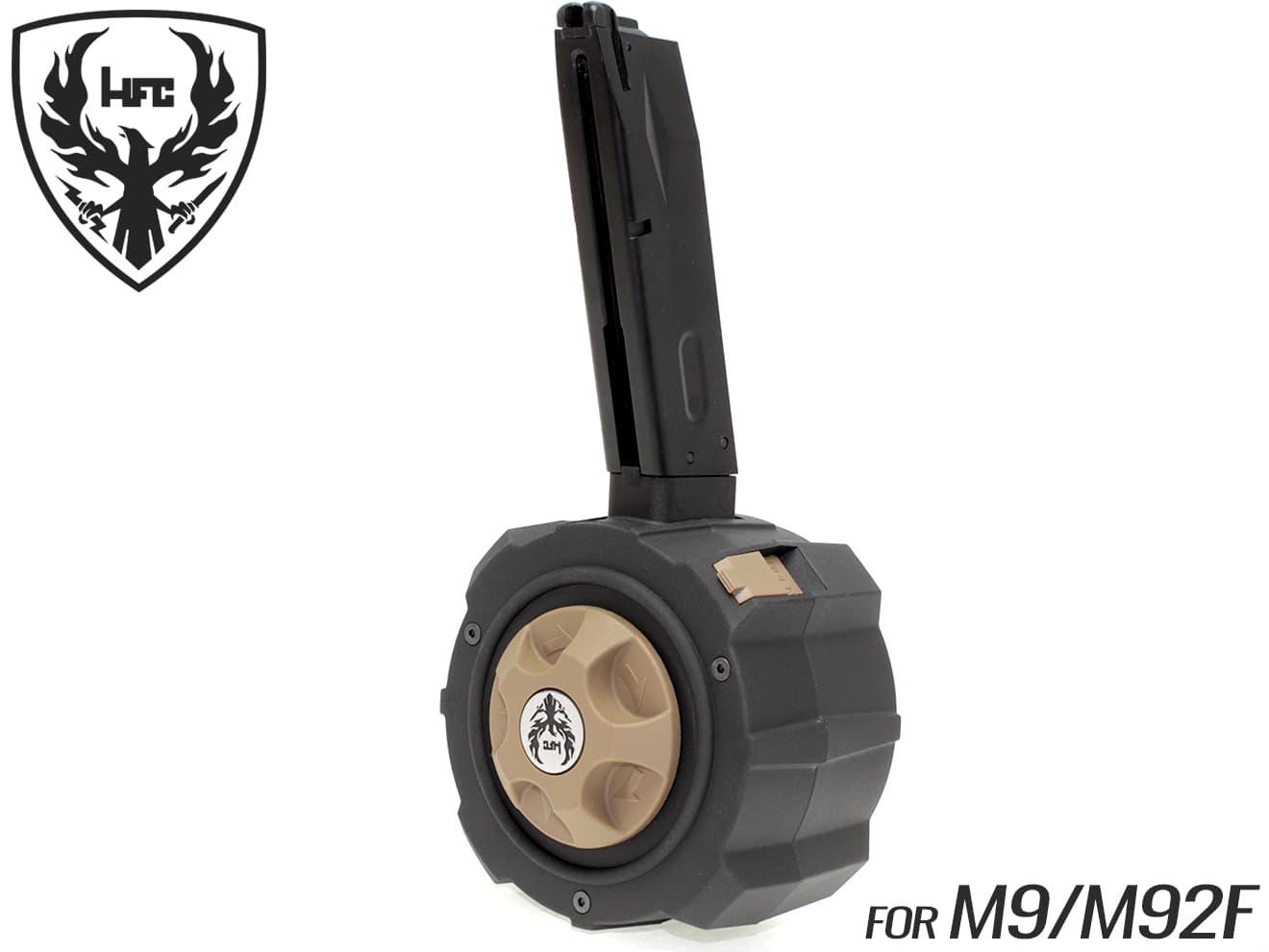 HFC ガスドラムマガジン 145Rds M9/M92F用◆BK/DE 東京マルイ ガスブロ M9/M92Fシリーズ対応 樽型マガジン BB弾500発付属 ガス容量超増大