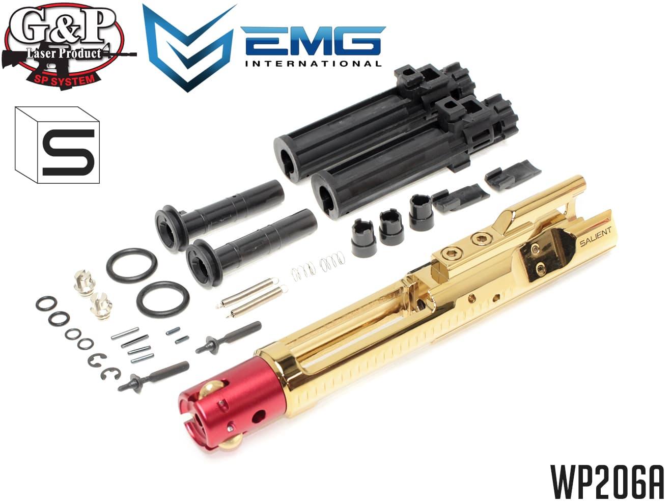 G&P ローラーボルトキャリア SAIタイプ ゴールドクローム(ネガティブプレッシャー)◆WA ガスブロ M4シリーズ対応 EMG ARMS 3点ローラー支持