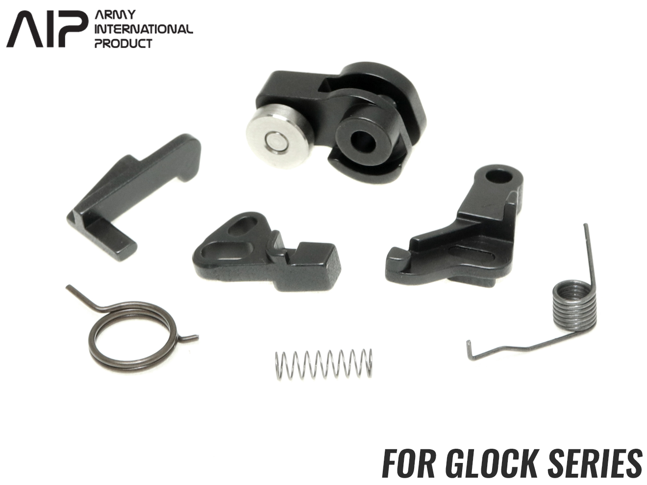 AIP スチールCNC ハンマーセット G17/G22/G26/G34◆東京マルイ GBB GLOCK 高精度CNC加工 強度耐久性UP シアー/ノッカー/ノッカーロック付属