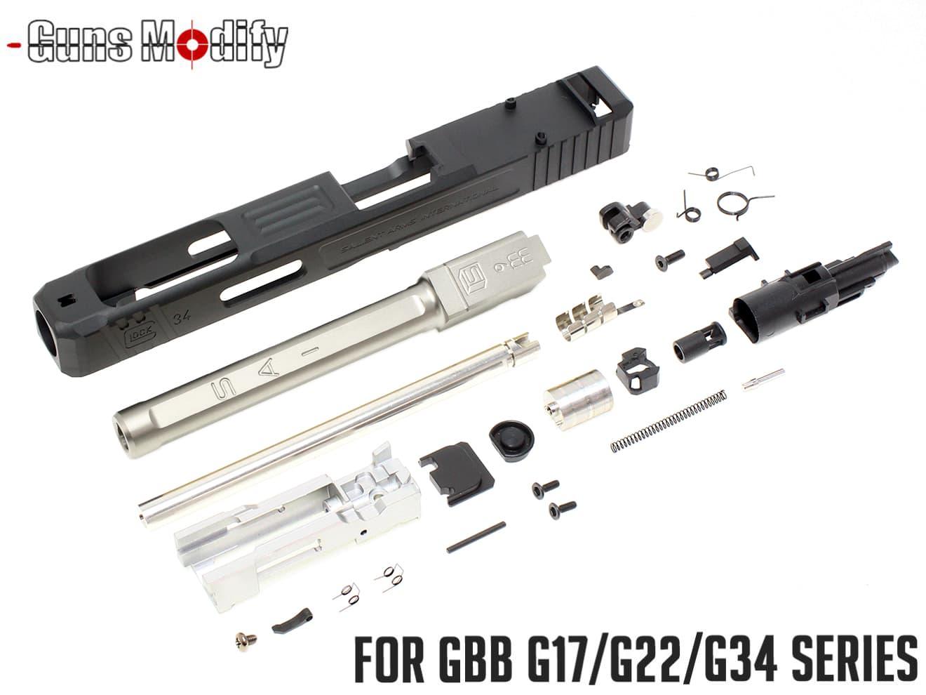 Guns Modify G34 SA CNC Tier 1 RMR アルミスライド&ボックスフルート ステンレスアウターバレル w/ ブローバックエンジンフルセット