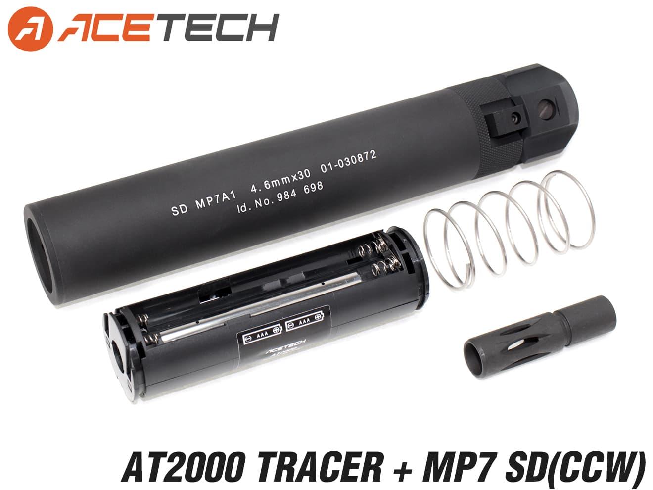 90日保証&日本語取説付 ACETECH AT2000 スーパーシャイン フルオートトレーサー w/ MP7タイプ サイレンサー(マルイ)◆12mm逆ネジ対応