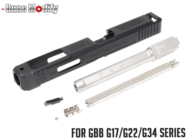 Guns Modify G34 SA CNC Tier 1 アルミスライド&ステンレス ボックスフルート アウターバレルセット◆マルイ GBB GLOCK G34用 SAIタイプ
