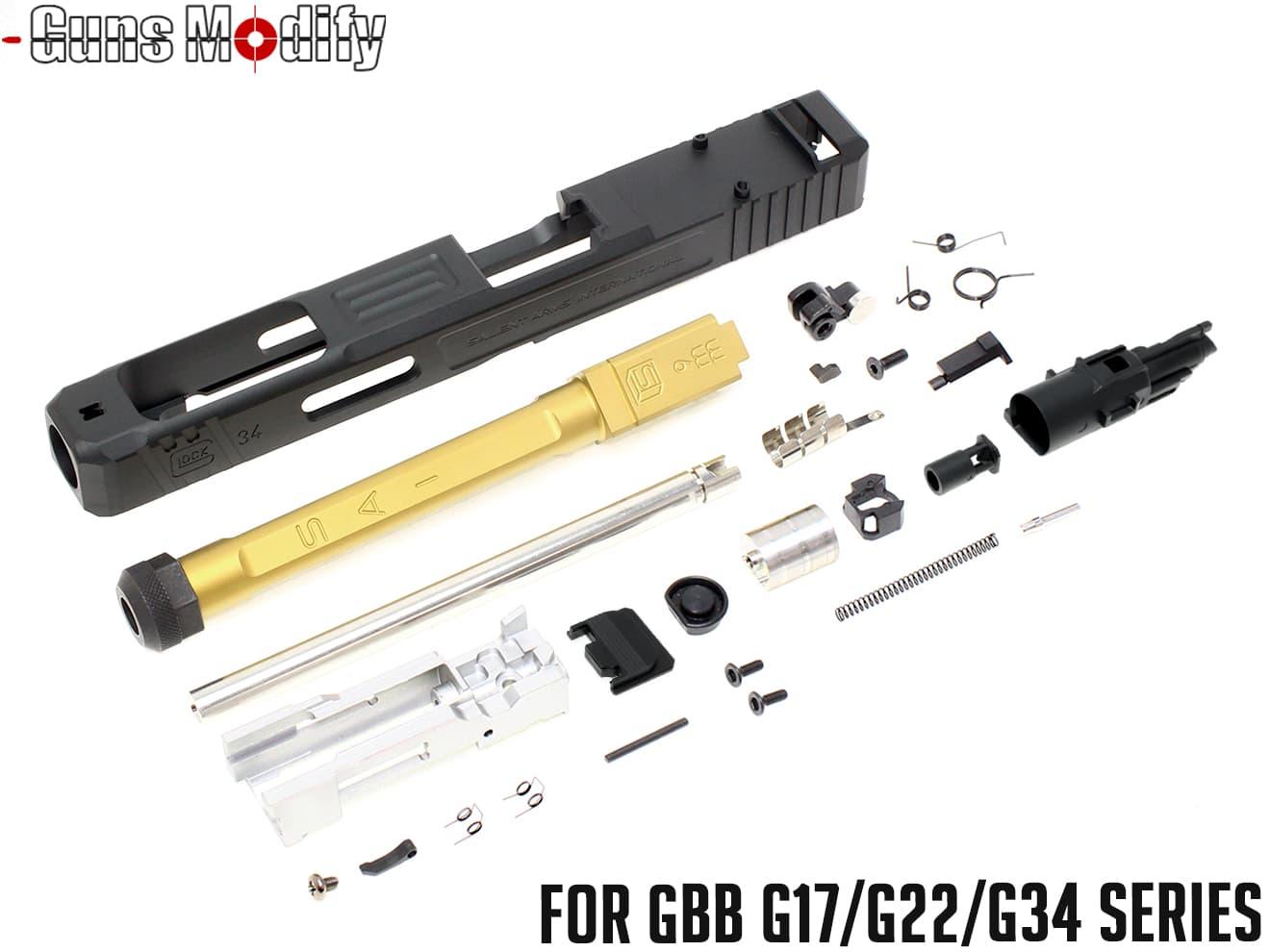 Guns Modify G34 SA CNC Tier 1 RMR アルミスライド&ボックスフルート TiNステンレススレッドアウターバレル w/ ブリーチフルセット