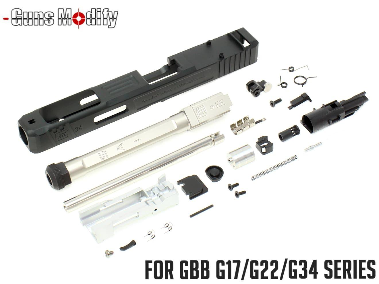 Guns Modify G34 SA CNC Tier 1 RMR アルミスライド&ボックスフルート ステンレススレッドアウターバレル w/ ブリーチフルセット