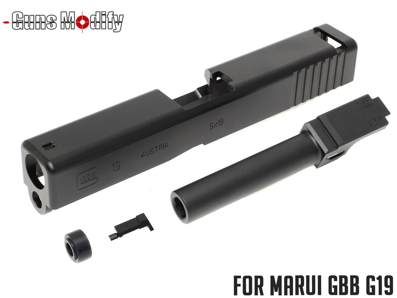 Guns Modify G19 アルミスライド&アウターバレル◆BK マルイ ガスブロ G19シリーズ対応 アルミ製 リアルに再現 BYU715刻印 高精度 高質感