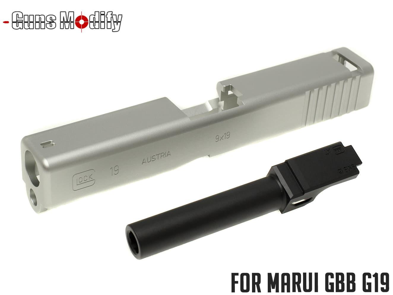Guns Modify G19 アルミスライド&アウターバレル◆SV/BK マルイ GBB G19シリーズ対応 アルミ製 リアルに再現 BYU715刻印 高精度 高質感
