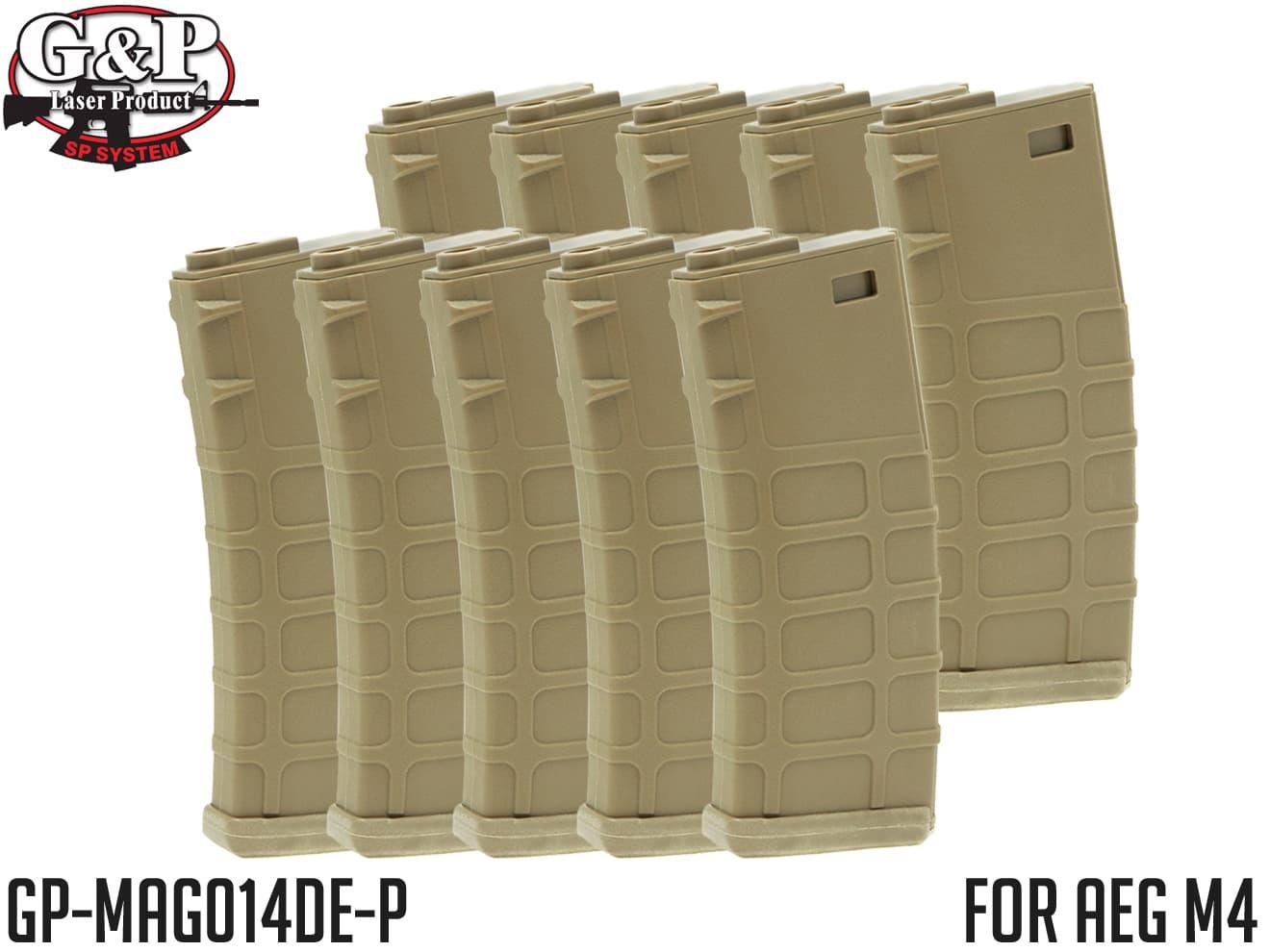 G&P GMAG 130Rds マガジン AEG M4 FDE 10本セット◆MADBULLライセンス バネ式 MID CAP 電動M4対応 G&G KRYTAC ICS ARES APS S&T VFC WE