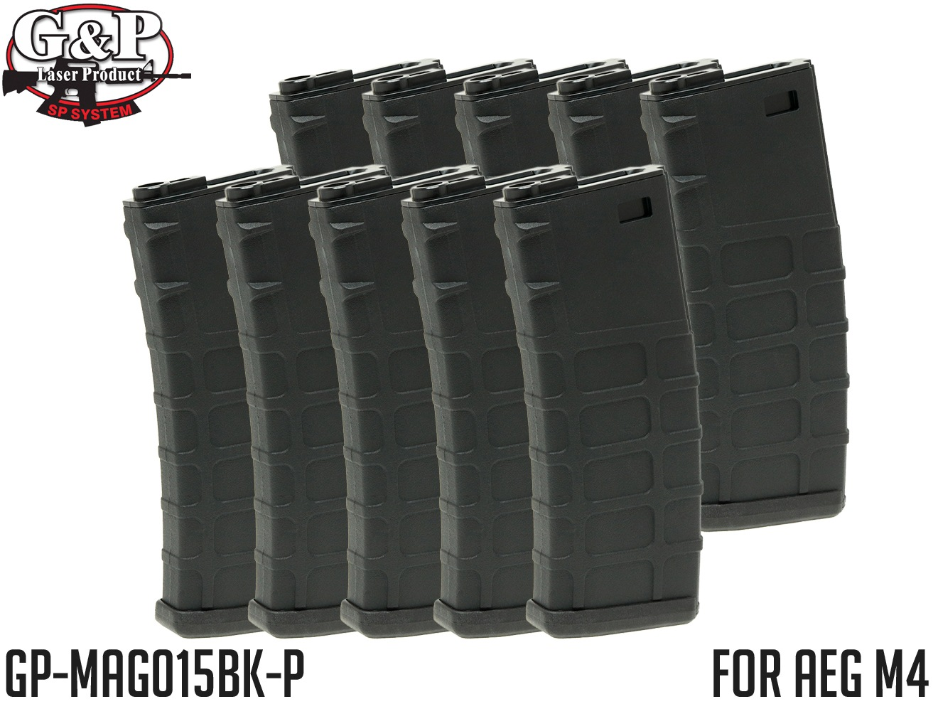 G&P GMAG 340Rds マガジン AEG M4 BK 10本セット◆MADBULLライセンス ゼンマイ式 HIGHCAP 電動M4対応 G&G KRYTAC ICS ARES APS S&T VFC WE