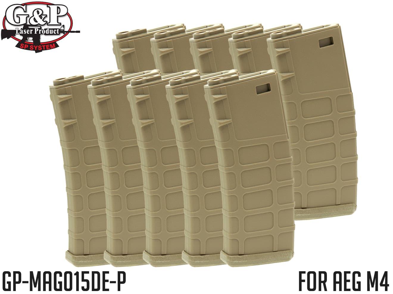 G&P GMAG 340Rds マガジン AEG M4 FDE 10本セット◆MADBULLライセンス ゼンマイ式 電動M4対応 G&G KRYTAC ICS ARES APS S&T VFC WE