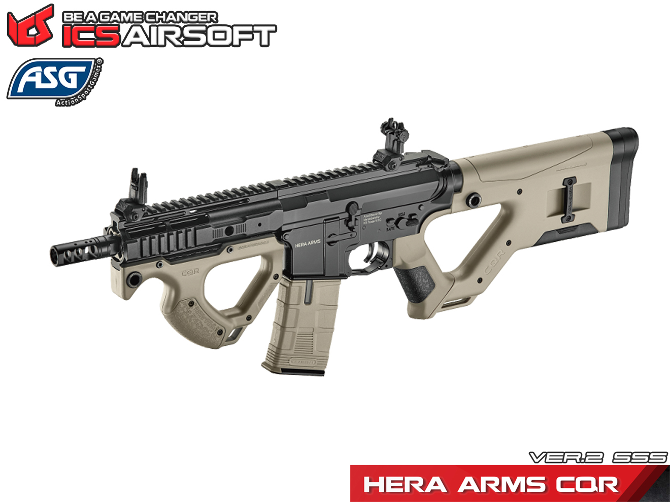 ICS×ASG HERA ARMS CQR AEG Two-Tone Ver.2 SSS+EBB JP Ver. ◆HERA ARMS正規ライセンス取得 電動ガン ツートン バージョン2 タンカラー