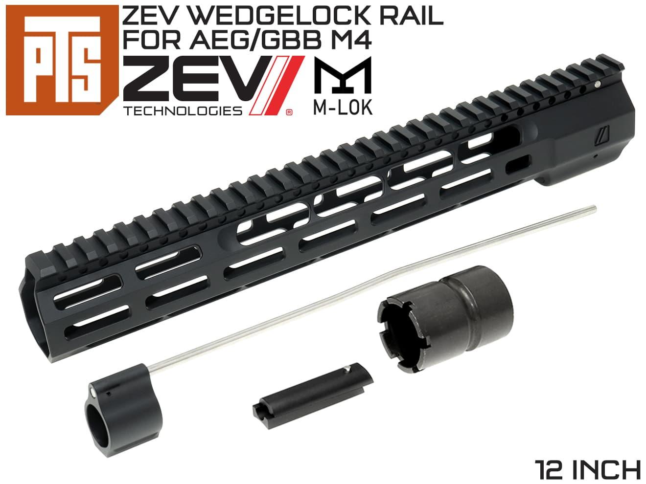 PTS ZEV WedgeLock M-LOK レールハンドガード 12インチ◆マルイ系 AEG/GBB M4用 RAS エムロックモジューラーレール 軽量 ウェッジロック