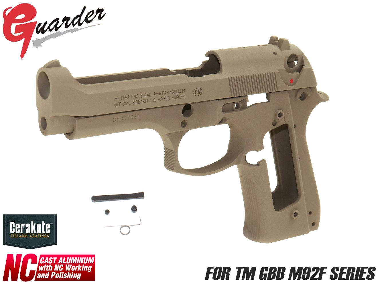 M92F-05C(B)FDE■GUARDER US M9 デザートストーム アルミスライド&フレーム◆2019Ver FDE Cerakote セラコート マルイ GBB M92Fシリーズ DESERT STORM