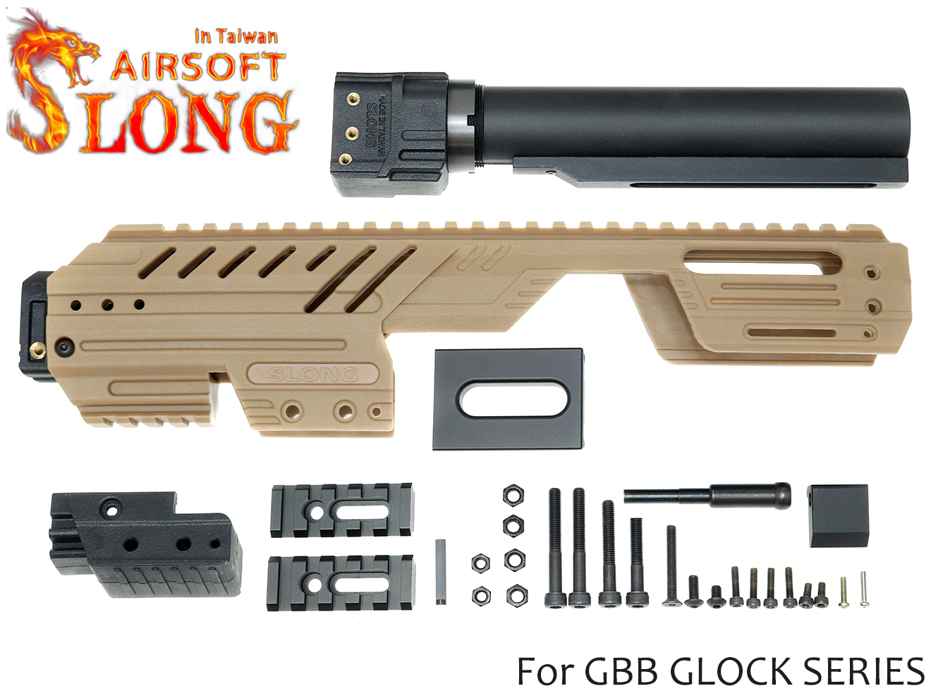 SLONG AIRSOFT MPG-KRISS コンバージョンキット for G17/G18C/G22/G34◆TAN グロックシリーズを瞬時にPDW化 SMG化 取り回し◎ CQCに