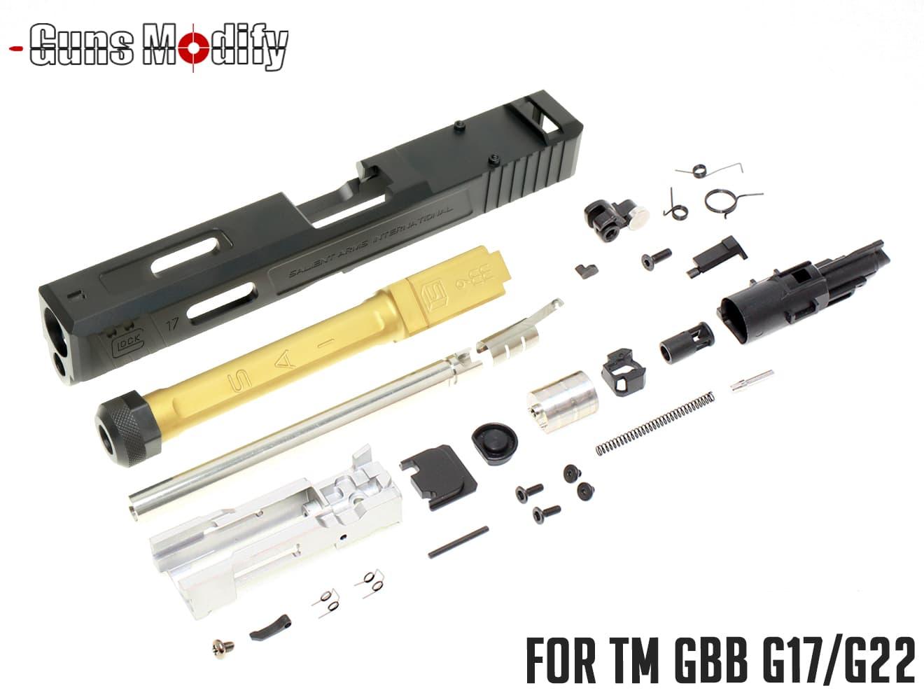 Guns Modify G17/G22 SA CNC Tier 1 RMR アルミスライド&ボックスフルート TiNステンレススレッドアウターバレル w/ ブローバックエンジンフルセット◆マルイ