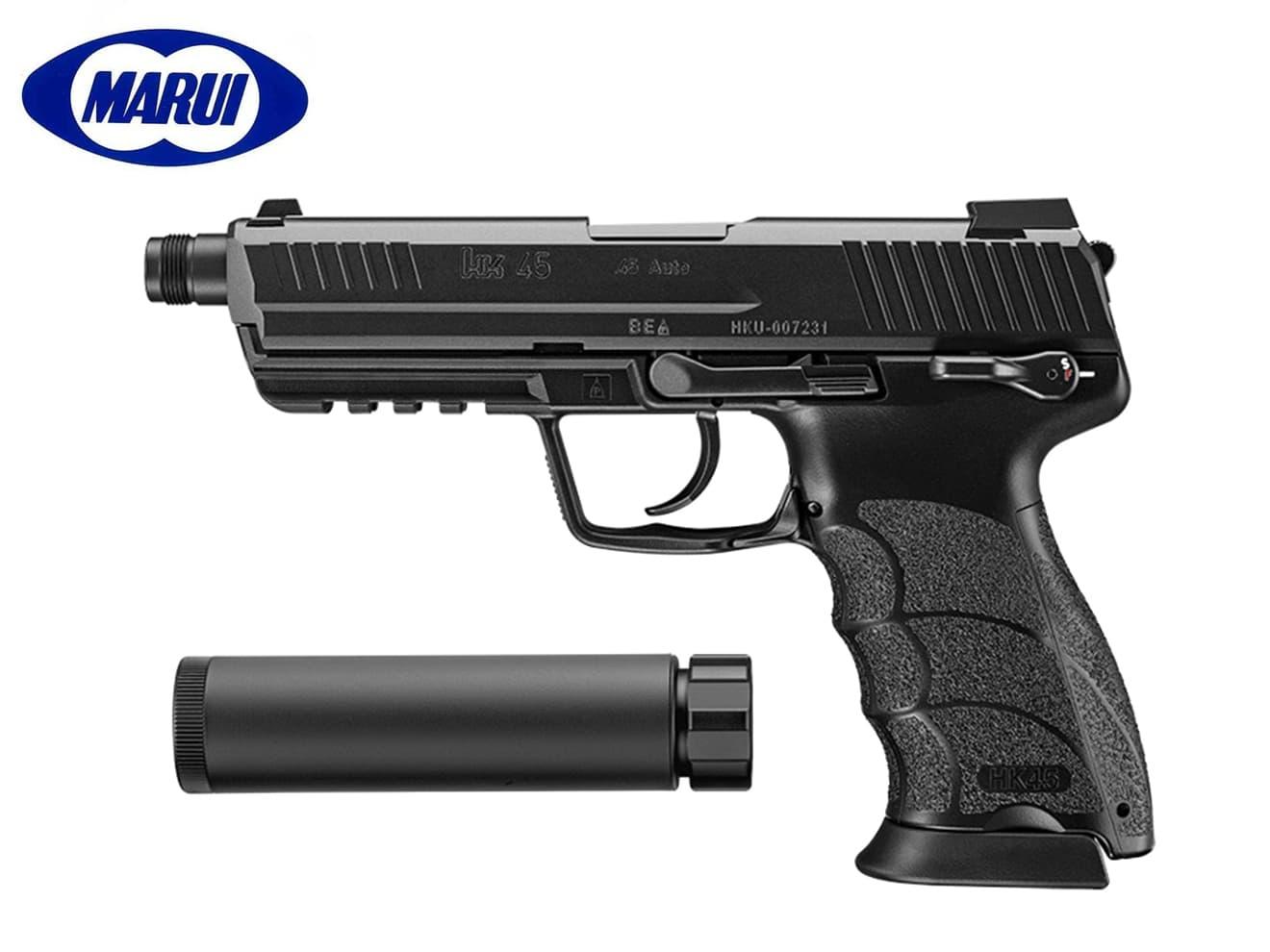 東京マルイ ガスブローバック HK45 タクティカル ブラック◆ハンドガン/大型ピストル/ガスブロ/GBB/送料無料/サイレンサー/16mm正ネジ