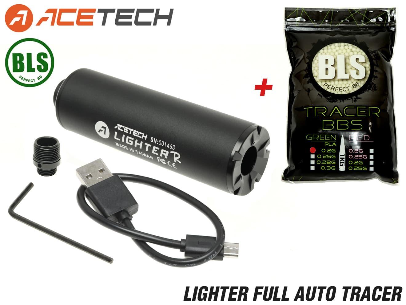 90日保証&日本語取説付 ACETECH LIGHTER フルオートトレーサー + BLS バイオトレーサーBB弾 0.2g セット◆φ30mm SMGやピストルに夜間戦闘