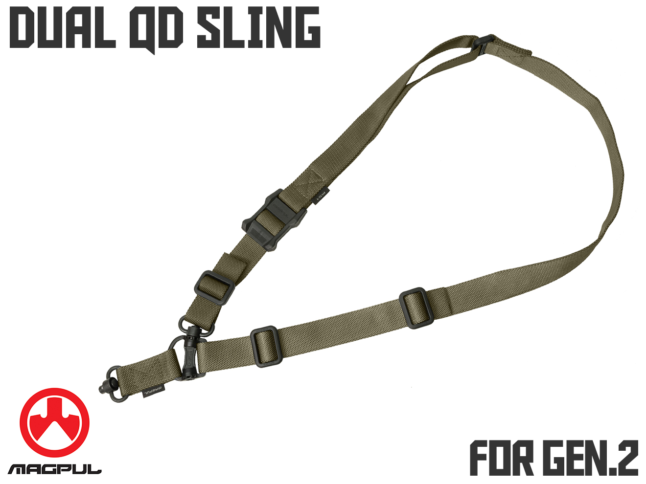 MAGPUL MS4 デュアル QD GEN.2 スリング Ranger Green◆マグプル正規品 MA510430359 シングル/ マルチポイント QDスイベル装備 約172cm