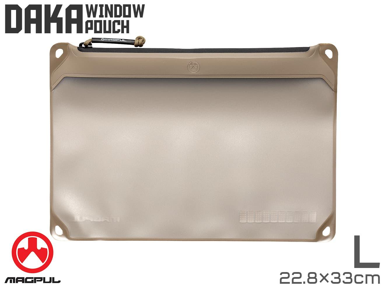 Magpul DAKA Window ポーチ L[22.8cm×33cm] FDE◆マグプル ダカポーチ 半透明窓 MA356554313 汚れに強い 精密部品/パーツ類などの保管に