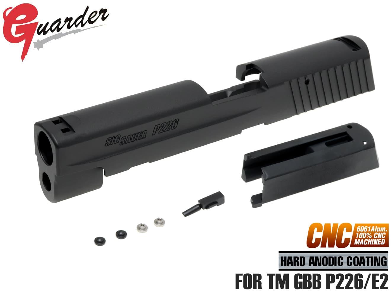 P226-47(BK)■GUARDER A6061 アルミ CNCスライド Late Version Marking for マルイ P226/E2用◆東京マルイ GBB P226/E2対応 専用軽量ハウジング付属