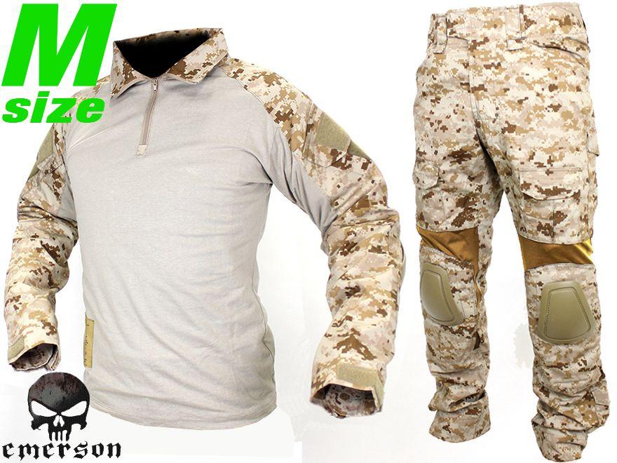 【SEALs装備を再現/本格志向派に】EMERSON GEAR G2 コンバットシャツ&パンツ M-Size/AOR1◆上下セット装備/パッド標準装備/デジタルデザート
