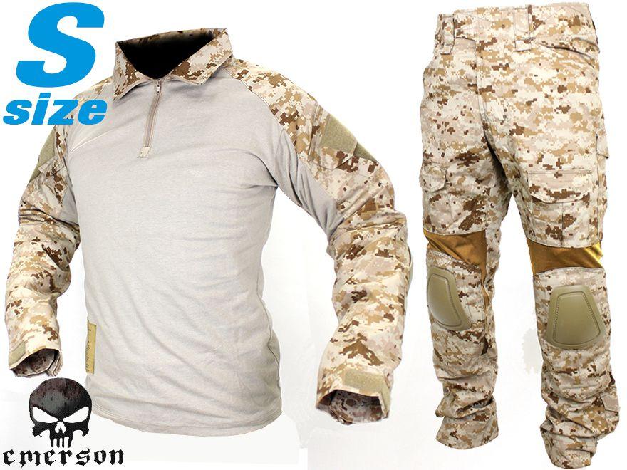 【SEALs装備を再現/本格志向派に】EMERSON GEAR G2 コンバットシャツ&パンツ S-size/AOR1◆上下セット装備/パッド標準装備/デジタルデザート