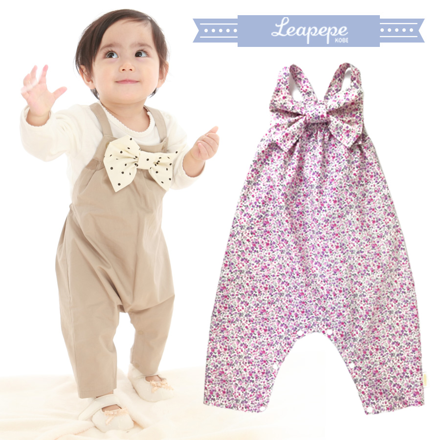 【クーポン配布中】 【ベビー】レアペペ〈RIBBON〉おめかしサロペット「サロペぺ」コットン100% 赤ちゃん 女の子