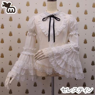 ブラウス 丸襟 半袖 長袖 付け袖 ロリータファッション Mサイズ ~ Lサイズ ホワイト/白・ブラック/黒から選択 シフォン チュールレースセレスティン MLサイズ