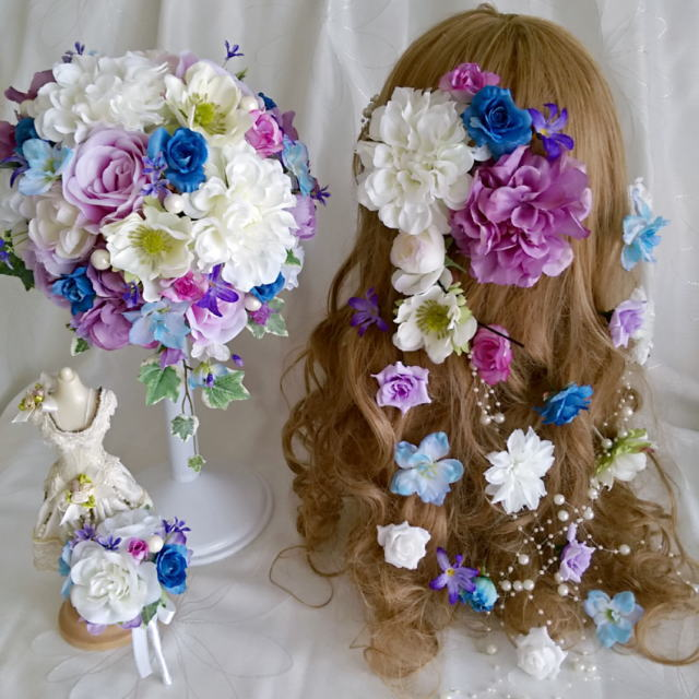 【bouquet】【ブライダルブーケ】【造花 ブーケ】ボリューム髪飾り ブーケ ブートニア3点セット アネモネ ラプンツェル風 青 紫♡ミルフルールオリジナル♡