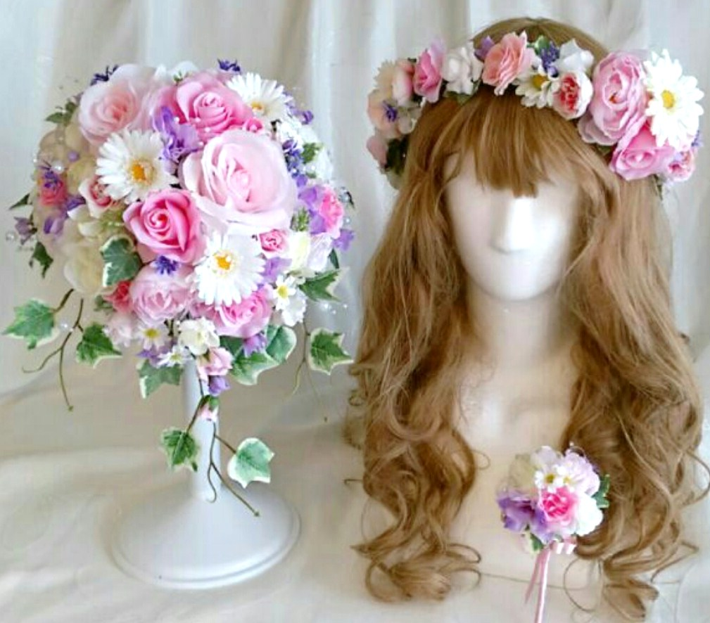 【bouquet】【ブライダルブーケ】【造花ブーケ】ウェディングブーケ 花冠セット ピンク パープルブートニア付き♡ミルフルールオリジナル♡