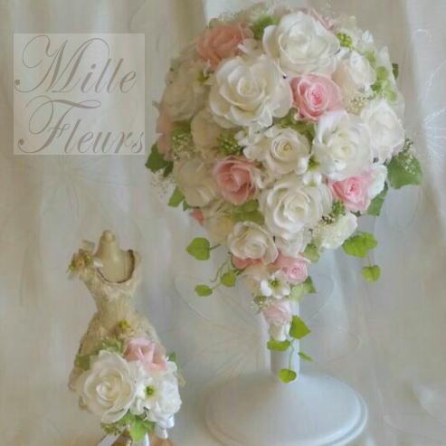 プリザーブドフラワー オーバルブーケ ブートニアセット ホワイト ピンク