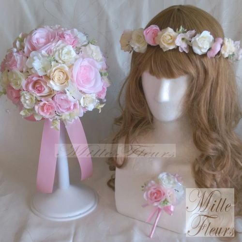 ラウンドブーケ ブートニア 花冠 3点セット ホワイト ピンク やさしい色合い【ブライダルブーケ】【ウェディングブーケ】【bouquet】【造花ブーケ】♡ミルフルールオリジナル♡