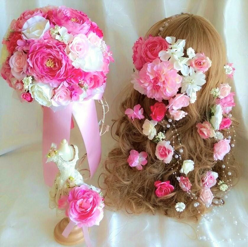 ラウンドブーケ ブートニア ラプンツェル風 ボリューム髪飾り 3点セット ホワイト ピンク 【ブライダルブーケ】【ウェディングブーケ】【bouquet】【造花ブーケ】♡ミルフルールオリジナル♡