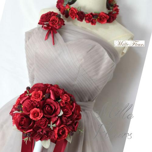 【bouquet】【ブライダルブーケ】【造花ブーケ】ラウンドブーケ 花冠 ブートニア3点セット 赤 レッド ♡ミルフルールオリジナル♡NO113