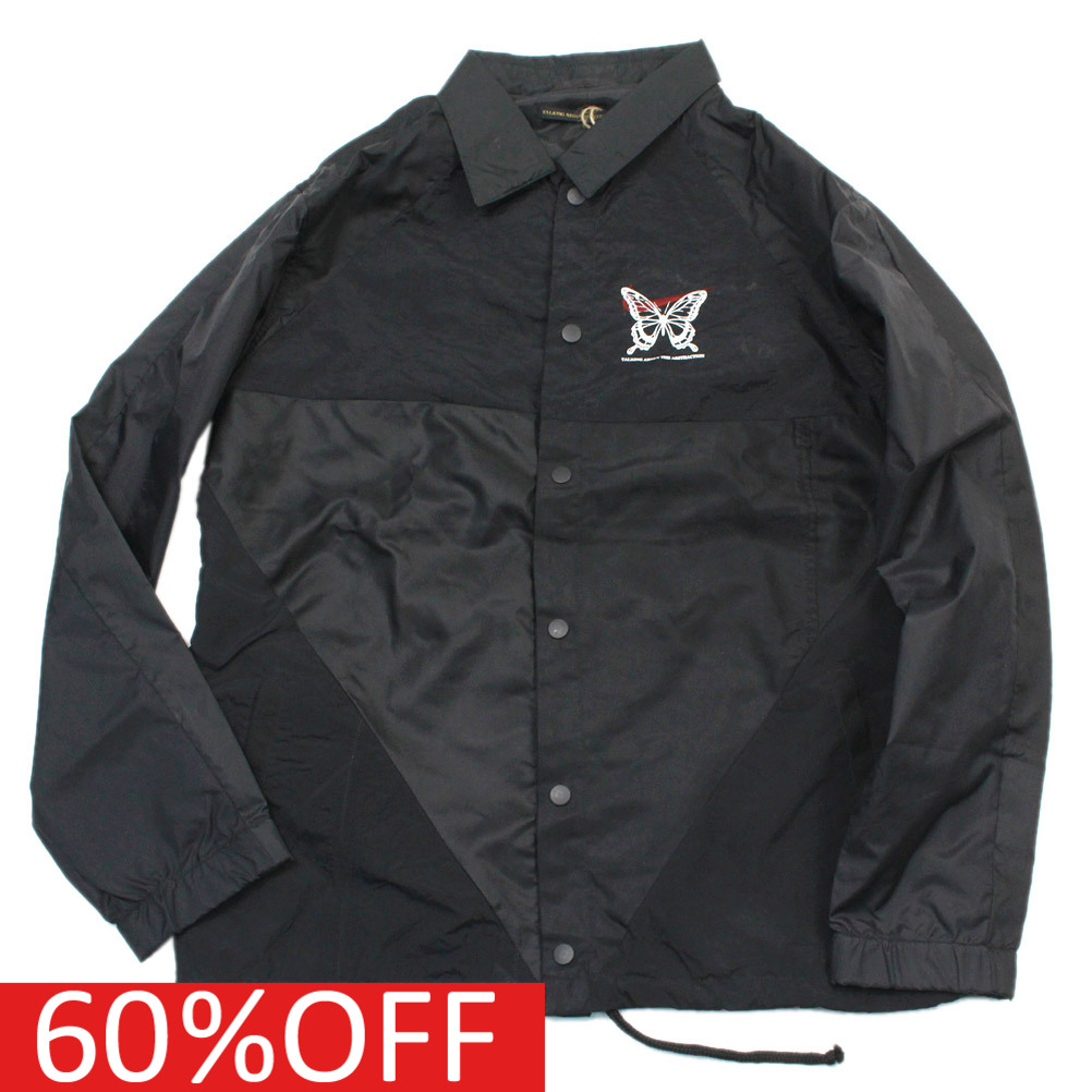 【TALKING ABOUT THE ABSTRACTION/メンズ/トーキングアバウト】 セール 【50%OFF】 Re-make Nylon Coach Jacket ブラックa174a
