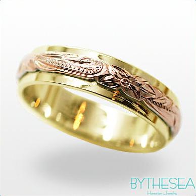 ハワイアンジュエリー リング 指輪 レディース オーダーメイドリング5mm2プレート K14イエローゴールドリング 送料無料 刻印無料 名入れ|ゴールド ゴールド ハワイアンリング 女性 誕生日プレゼント 彼女 妻 プレゼント 記念日 ゴールドリング ミリオンベル ハワジュ